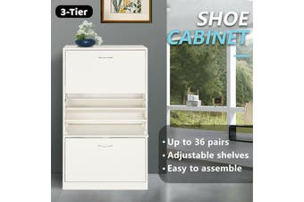 Shoe Cabinet 3 Tier Shoe Storage Rack Wooden Organiser Shelf Drawer Cupboard-Cabinet-Model3-White