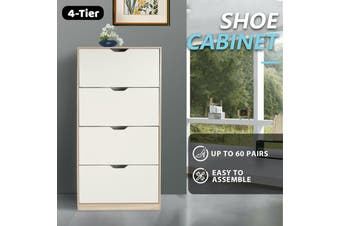 Shoe Cabinet 4 Tier Shoe Storage Rack Wooden Organiser Shelf Drawer Cupboard-Cabinet-Model4-WhiteAndwood