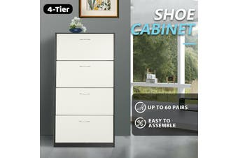 Shoe Cabinet 4 Tier Shoe Storage Rack Wooden Organiser Shelf Drawer Cupboard-Cabinet-Model5-WhiteAndBlack