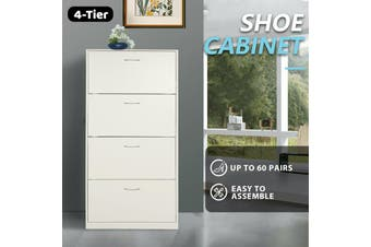 Shoe Cabinet 4 Tier Shoe Storage Rack Wooden Organiser Shelf Drawer Cupboard-Cabinet-Model6-white