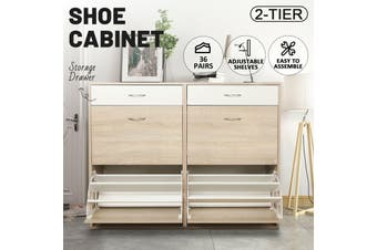 Shoe Cabinet 3 Tier Shoe Storage Rack Wooden Organiser Shelf Drawer Cupboard-Cabinet-Model7-Wood