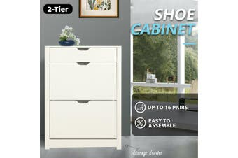Shoe Cabinet 3 Tier Shoe Storage Rack Wooden Organiser Shelf Drawer Cupboard-Cabinet-Model8-white