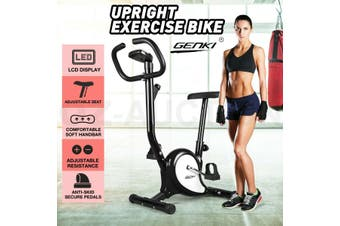 Genki Upright Exercise Bike Home Gym Bicycle Fitness Cardio Spin Cycling Workout-Model1-Black