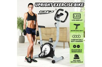Genki Upright Exercise Bike Home Gym Bicycle Fitness Cardio Spin Cycling Workout-Model1-Gray