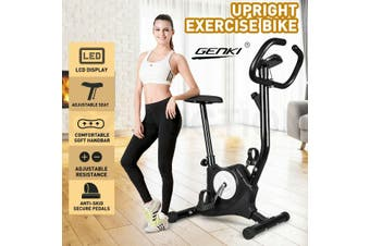 Genki Upright Exercise Bike Home Gym Bicycle Fitness Cardio Spin Cycling Workout-Model2-Black