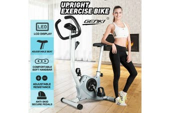 Genki Upright Exercise Bike Home Gym Bicycle Fitness Cardio Spin Cycling Workout-Model2-Gray