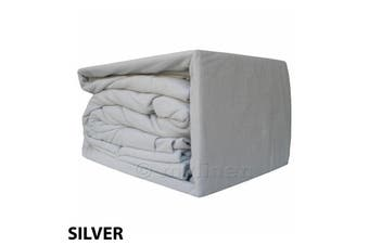 Egyptian Cotton Flannelette Sheet Set-DoubleBed-Silver