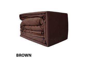 Egyptian Cotton Flannelette Sheet Set-KingSingleBed-Brown