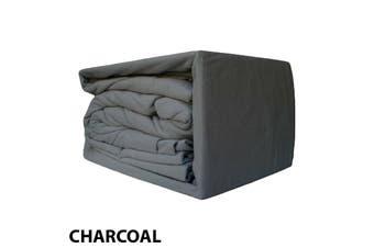 Egyptian Cotton Flannelette Sheet Set-SingleBed-Charcoal