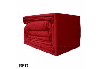Egyptian Cotton Flannelette Sheet Set-SingleBed-Red