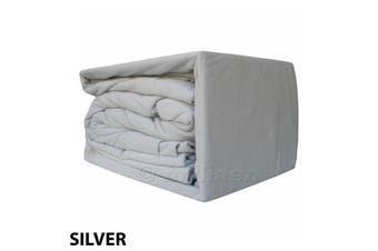 Egyptian Cotton Flannelette Sheet Set-SingleBed-Silver