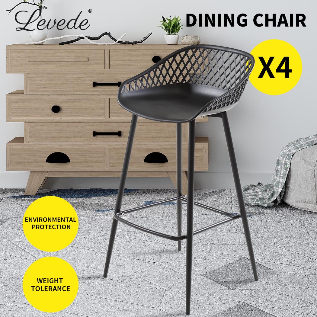 Picture of: 4x Levede Bar Stool Dining Chairs Metal Kitchen Stool Chair Barstools Outdoor Black 4pcs Matt Blatt