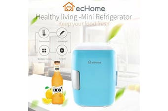 ecHome Portable 4L Mini Refrigerator Fridge Cooler and Warmer for Car Home Blue
