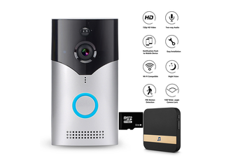 WiFi Wireless Smart Doorbell Video Camera Night Version PIR Door Bell Intercom-Silver Doorbell(with Clime & 32G Card)