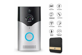 WiFi Wireless Smart Doorbell Video Camera Night Version PIR Door Bell Intercom-Silver Doorbell (with Clime)