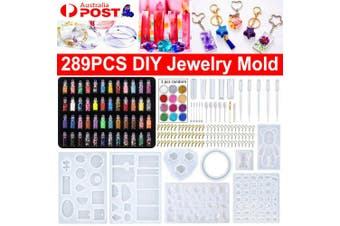 289Pcs DIY Jewelry Mould Handmade Crystal Glue Mould Set Resin Silicone Mold Kit