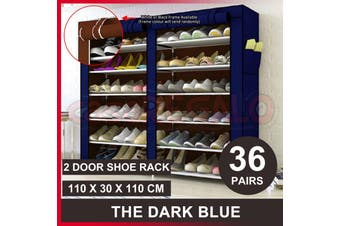 36 Pairs Shoes Cabinet Storage Shoe Rack with Cover Portable Wardrobe-Blue