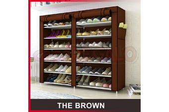 36 Pairs Shoes Cabinet Storage Shoe Rack with Cover Portable Wardrobe-Brown