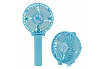 Mini Portable Hand-held Desk Fan Cooling Cooler USB Air Rechargeable Conditioner Blue