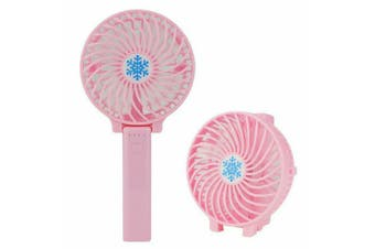 Mini Portable Hand-held Desk Fan Cooling Cooler USB Air Rechargeable Conditioner Pink