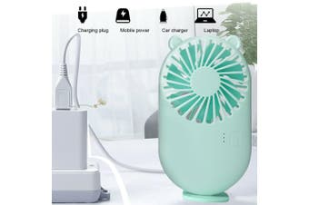 Mini Portable Hand-held Desk Fan Cooling Cooler USB Air Rechargeable Conditioner Green bear mini fan