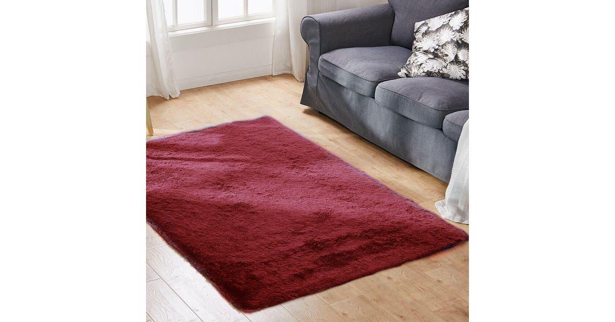 Floor Rugs Shaggy Rug Large Mats Shag Carpet Bedroom Living Room Mat 230x160cm In Burgundy Matt Blatt