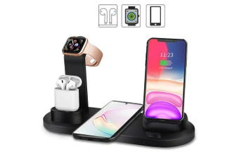 3in1 Qi charger Fast charging Dock Stand For Airpods Apple Watch iPhone station-Black