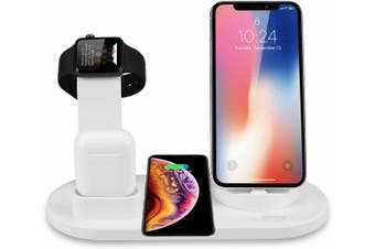 3in1 Qi charger Fast charging Dock Stand For Airpods Apple Watch iPhone station-White