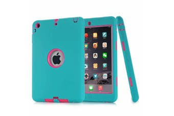 Heavy Duty ShockProof Case Cover For iPad Air 2-Blue/Hot Pink