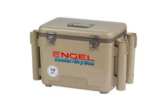 Engel 19 Quart Fishing Rod Holder Attachment Insulated Dry Box Cooler Tan