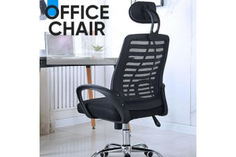 PU Leather & Mesh Office Chair Computer Eames Replica Home Executive Seat-Adjustable Head rest