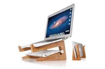 Bamboo Notebook Stand Laptop Computer Holder Increased Cooling Space Bracket AU