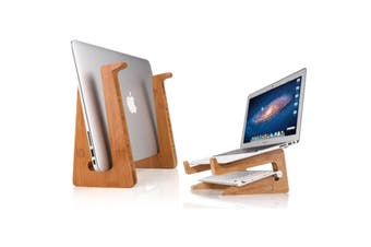 Bamboo Notebook Stand Laptop Computer Holder Increased Cooling Space Bracket