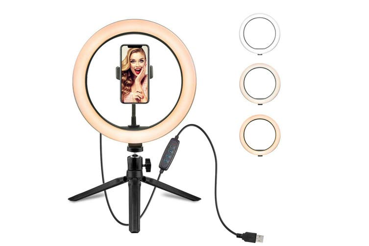 10 Inch Phone Selfie Ring Light with Stand Dimmable For Makeup Video Shooting Live LED
