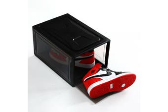 Sneaker Display Cases Shoe Box Extra Large Clear Plastic Boxes - Black