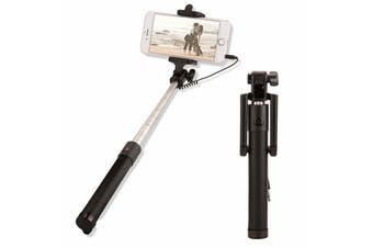 Extendable Selfie Stick Phone Holder Remote Shutter Monopod For Samsung iPhone X-Black