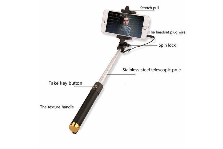 Extendable Selfie Stick Phone Holder Remote Shutter Monopod For Samsung iPhone X-Black