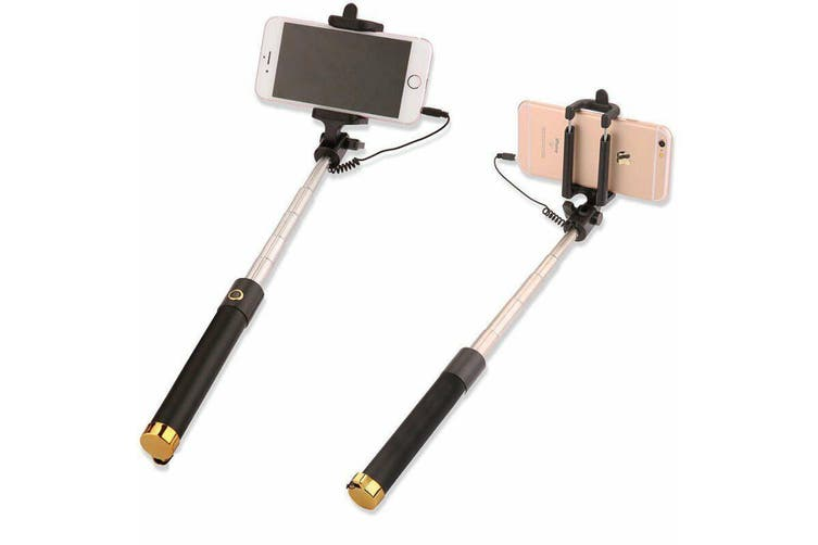 Extendable Selfie Stick Phone Holder Remote Shutter Monopod For Samsung iPhone X-Gold