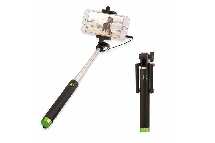 Extendable Selfie Stick Phone Holder Remote Shutter Monopod For Samsung iPhone X-Green