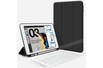 For iPad Pro 10.5Inch 2017 Bluetooth Keyboard +Pen Holder Leather Case-Black