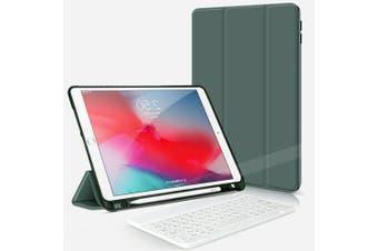 For iPad Pro 10.5Inch 2017 Bluetooth Keyboard +Pen Holder Leather Case-DarkGreen