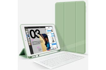 For iPad Pro 10.5Inch 2017 Bluetooth Keyboard +Pen Holder Leather Case-Green