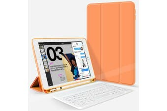 For iPad Pro 10.5Inch 2017 Bluetooth Keyboard +Pen Holder Leather Case-Orange