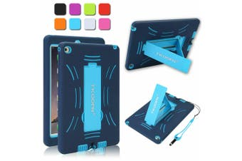Kids ShockProof Case Heavy Duty Tough Kick Stand Cover For iPad Mini 1/2/3-Type1-BlueBlue