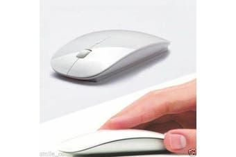 2.4GHz Ultra Slim Wireless Optical Mouse + nano USB Receiver for Laptop PC Mac-White