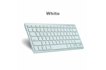 Support Mac Apple Android Hp Windows Wireless Keyboard Ultra Slim Bluetooth AU-White