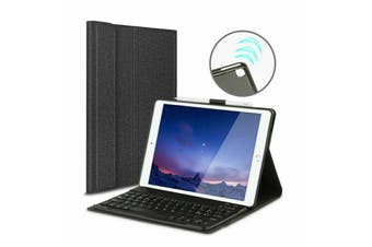 For iPad Air 3 2019 Wireless Bluetooth Keyboard With Leather Cover Case-Black