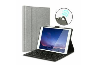 For iPad Air 3 2019 Wireless Bluetooth Keyboard With Leather Cover Case-Grey