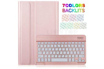 Backlit Bluetooth Keyboard Case For iPad Air 3 2019 +Pencil Holder-Rose Gold/Rose gold