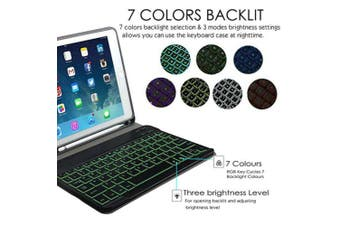 Backlit Bluetooth Keyboard Case For iPad10.2 2019 +Pencil Holder-Blue/White